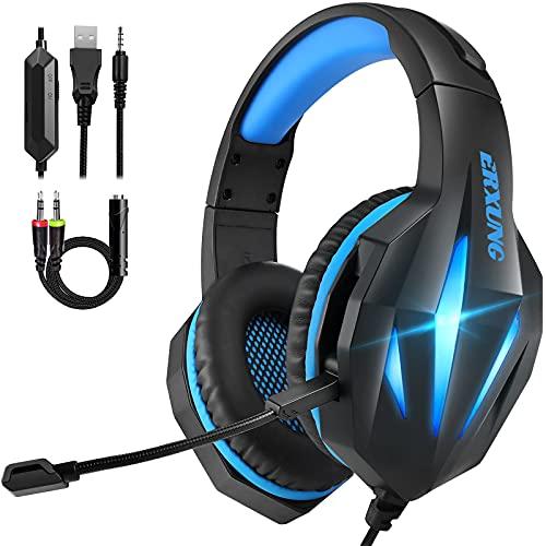 Auriculares Gaming PS4 PS5, Cascos Gaming PC con Micrófono, Reducción de Ruido, 50mm Drivers...