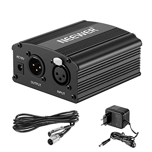 Neewer 1-Canal Phantom 48V Alimentación Suplimiento Negro con Adaptador y Cable de Audio XLR para...