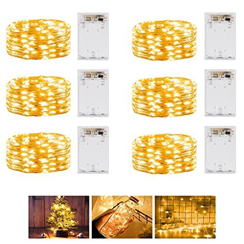 Guirnalda Luces Pilas, [6PCS] 6M 60LED Luces Navidad Pilas Con Temporizador - Cadena Luces Led...