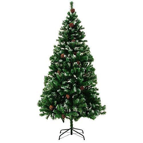 CASARIA Deuba Árbol de Navidad con piñas y Nieve Artificial Ramas con Efecto Nieve de 180 cm con...