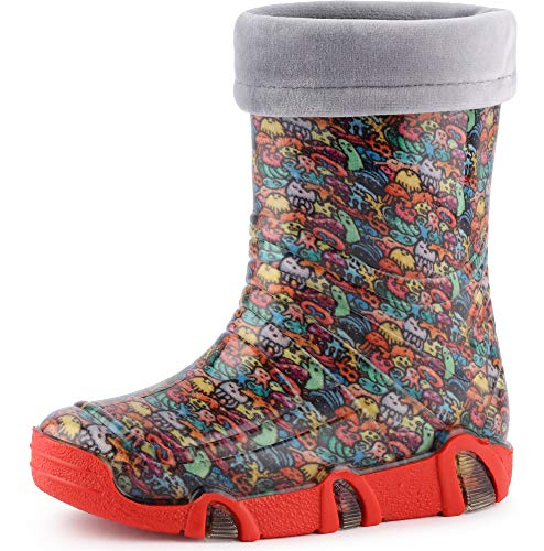 Ladeheid Botas de Agua Zapatos de Seguridad Calzado Unisex Niños Niñas Swk 201 (Criaturas Felices,...