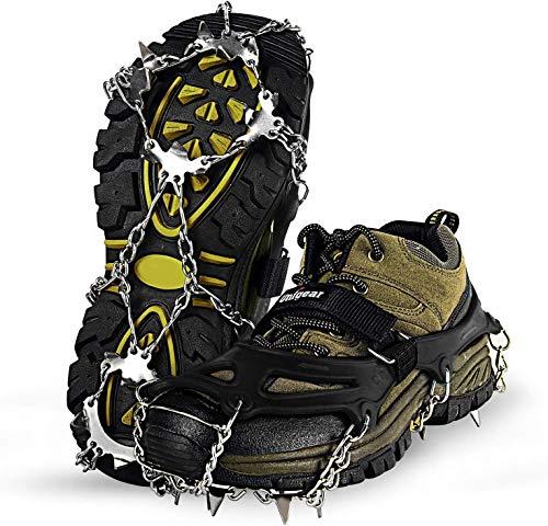 Unigear Crampones Ligero de Nieve Hielo 18 Puntas Dientes De Acero Zapatos Antideslizante para...
