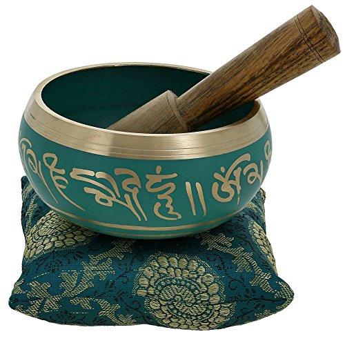 La meditación cuenco arte budista tibetano de la decoración verde 10 cm