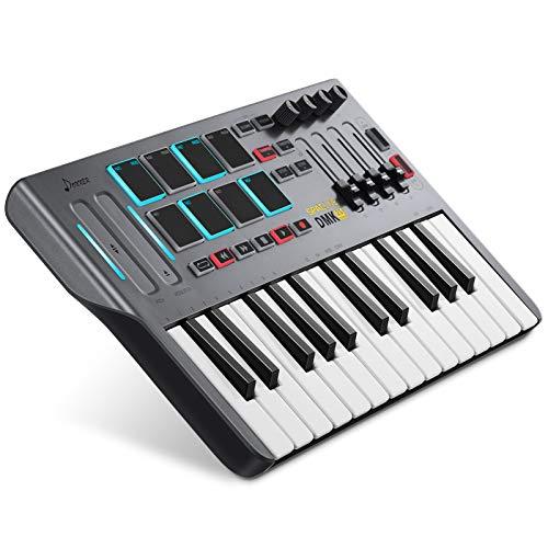 Controlador de Teclado MIDI DMK25, Donner Professional de 25 Teclas Mini USB Beat Pad con 8 Pads de...