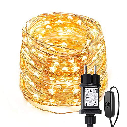 LE 10m 100 LED Luces de Hadas Blanco Cálido con Enchufe, Guirnalda de Luces Exteriores Impermeable...