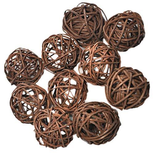 Ougual 10 Piezas Bolas de ratán Mimbre Mesa Boda Fiesta Navidad decoración 4cm Marron Oscuro
