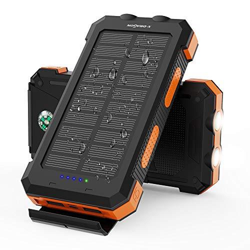 X-DRAGON Solar Power Bank 24000mAh Cargador solar portátil a prueba de agua con doble entrada...