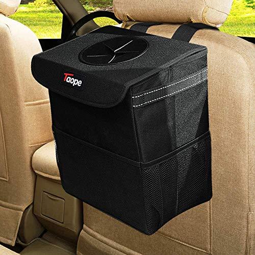 TAOPE Cubo de basura para coche, 15 l, impermeable, plegable, con tapa y bolsillo de red lateral...