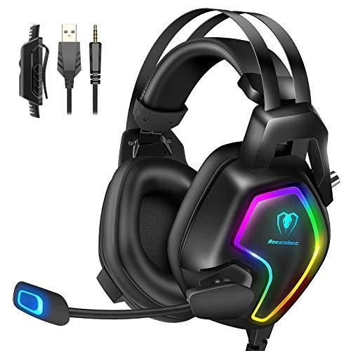 Cascos PS4 con Micrófono, Auriculares Gaming Profesional con Doble Haz, 50mm Drivers Sonido...