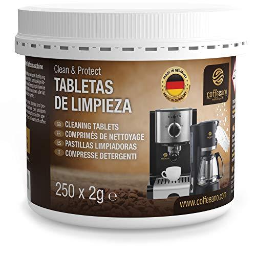 250 pastillas limpiadoras Coffeeano Clean&Protect para cafeteras automáticas y cafeteras. Pastillas...