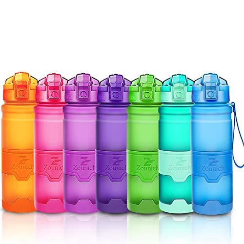 ZOUNICH Botella Agua Deporte Botellas Agua Niños sin BPA, Reutilizable Tritan Plástico Ecologica...