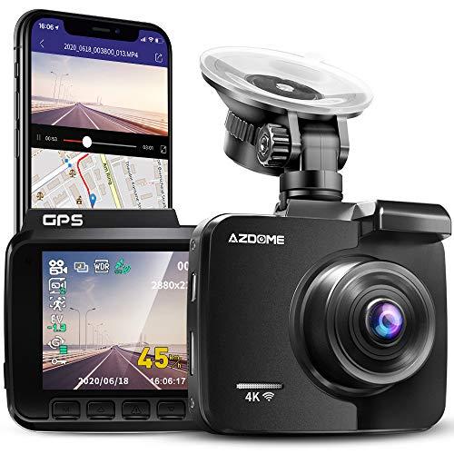 Cámara de Coche 4K 2160P con WIFI y GPS Dashcam Grabadora Ultra HD Dash Cam de Gran Ángulo 170°...