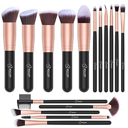 BESTOPE - Juego de brochas de maquillaje profesional, color dorado rosa