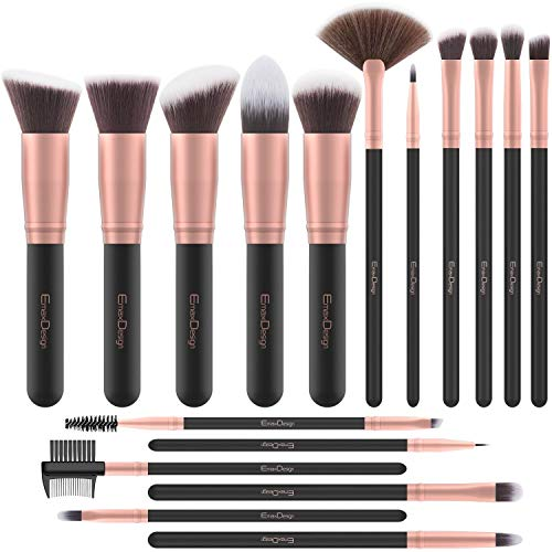Brochas de Maquillaje EmaxDesign 17 piezas Pinceles de maquillaje professional fibra sintética para...