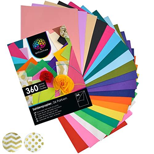 OfficeTree® Papel de Seda 360 Hojas A4-26 Colores - más diversión en Sus Manualidades, diseños y...