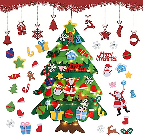 Árbol De Navidad De Fieltro,3.28Ft Árbol De Navidad En Fieltro para Niños,Árboles De Navidad...