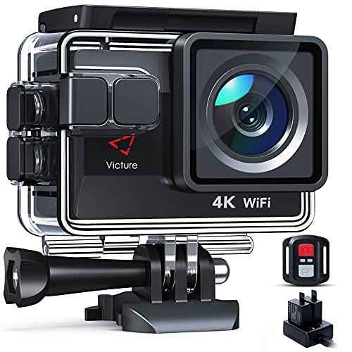 Victure Nueva Versión 4K/50FPS Cámara Deportiva Wi-Fi 4K Ultra HD 20MP con Control Remoto y...