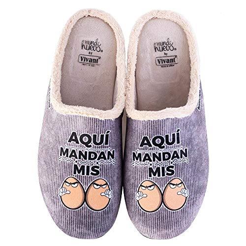 Zapatillas casa, comodas, con Pelo y Originales Expresiones y Frases graciosas. Aqui Mandan mis...