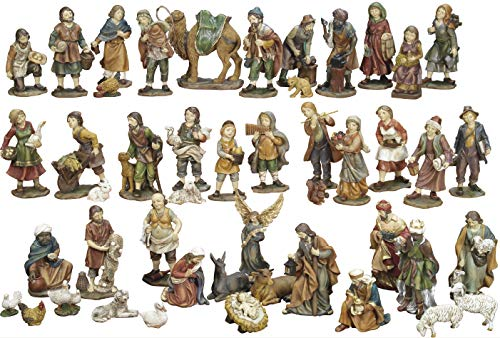 Articoli Religiosi by Paben Juego de Belén completo de 47 figuras de resina, 11 cm