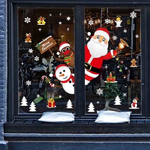 heekpek Feliz Navidad Papá Noel Muñeco de Nieve Alce de la Puerta Decoración de Ventana...