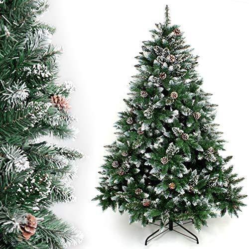 YORBAY - Árbol de Navidad Artificial Natural de Blanco Nevado, 150cm 750 Puntas Incluye Las Piñas...