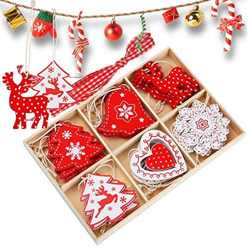juehu 24 Pcs Decoracion Arbol Navidad Madera Navidad Adornos de Copos de Nieve Ahuecados Colgantes...