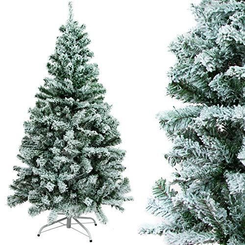 Gotoll Árbol de Navidad Nevado 150cm 328 Ramas,Árbol de Navidad Artificial de Pino con Soporte...