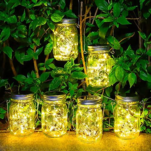 Luces Solares Jardín - Paquete de 6 Lámparas Solar Mason Jar 30 LED Impermeable Luces para...