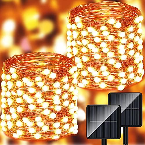 Guirnalda Luces Exterior Solar - 14m 140 LED Luces Led Solares Exteriores Jardin 8 Modos...