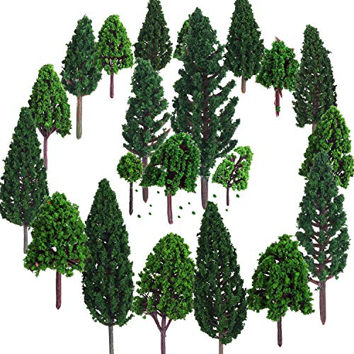 Bememo 22 Piezas de Modelo de Árbol 3 - 16 cm de Árboles de Modelo Mezclados Árboles de Tren...