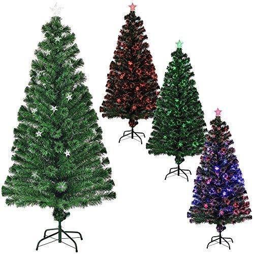 [en.casa] Árbol de Navidad (Artificial) Iluminado Color con Soporte - Fibra de Vidrio - Fibra...