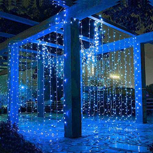 Hezbjiti 600 LED Cortina de Luces 6m x 3m, 8 Modos Cadena de Luz Blanco Cálido Resistente al Agua,...