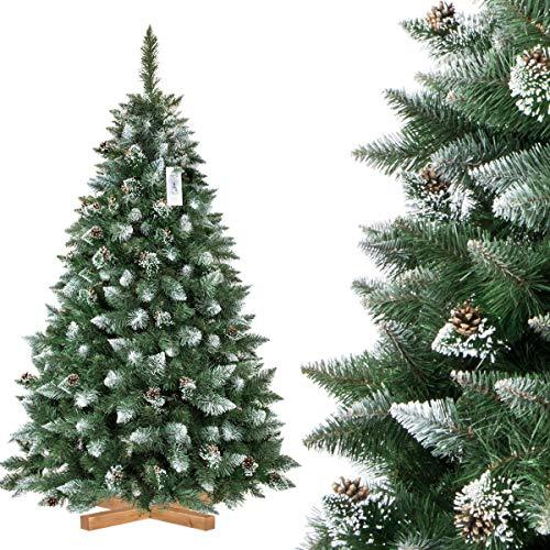 FairyTrees Árbol de Navidad Artificial, Pino Verde Natural Cubierto de Nieve, PVC, con piñas...